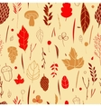 seamless pattern with leaf berries blades vector image