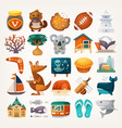 stickers with sights and famous elements of vector image