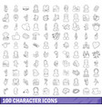 100 character icons set outline style vector image