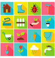 spring gardening colorful icons vector image