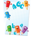 pencils and letters card vector image vector image