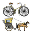 horse-drawn carriage or coach and bicycle bike or vector image