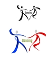 Dancing partner emblem in ribbon style vector image