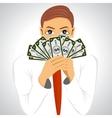 businessman holding fan of money vector image