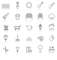 Gardening line icons with reflcet on white vector image vector image