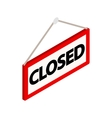Closed sign icon isometric 3d style vector image