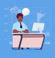african american business man sitting desk working vector image