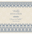 Baroque wedding invitation dark blue vector image