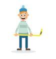 boy plays hockey vector image