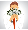 businessman holding fan of money vector image