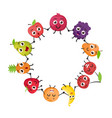 cartoon fruits characters vector image