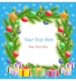 Christmas greetings Christmas tree frame with text vector image