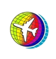 Flying airplane on earth globe vector image