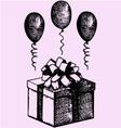 gift box balloons vector image