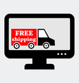 Lorry with Free Shipping Sign in Monitor Concept vector image