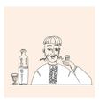 man and vodka in peasant style vector image