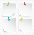 pinned paper sheets set vector image