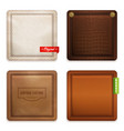 realistic genuine leather texture set vector image