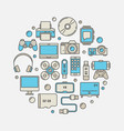 gadgets round colorful vector image