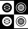 road tire sign  black and white icons and vector image