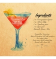 Cosmopolitan cocktails watercolor kraft vector image