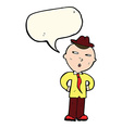 cartoon man wearing hat with speech bubble vector image