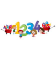 children counting numbers one to four vector image