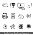 Computers and accessories doodles icon set vector image