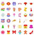 decoration icons set cartoon style vector image