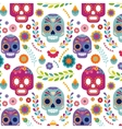 Mexico pattern with skull and flowers vector image