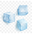 Realistic blue solid ice cubes on transparent vector image