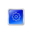 Gear icon on blue button vector image vector image