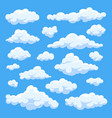 Fluffy white cartoon clouds in blue sky set vector image