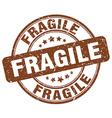 fragile brown grunge round vintage rubber stamp vector image
