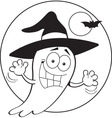 Cartoon ghost wearing a witch hat vector image