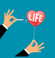 hand with cigarette busts life balloon vector image