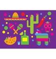 Mexico icons Cactus Sombrero Maracas Tequila vector image
