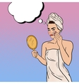 Pop Art Beautiful Woman Removing Makeup vector image
