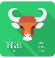 Zodiac sign Taurus icon flat design vector image
