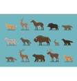 Animals icons Wild boar bear fox deer horse vector image vector image