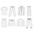 Clothing set sketch Mens clothes hand-drawing vector image