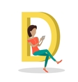 D Letter and Girl Watching Movie on Tablet vector image