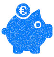 euro piggy bank icon grunge watermark vector image