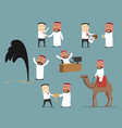 saudi arabian businessman cartoon character set vector image vector image