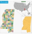 Mississippi map vector image