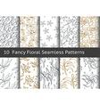 Vintage floral seamless pattern Set of 10 linear vector image