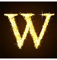 Alphabets W of gold glittering stars vector image