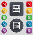 Bookshelf icon sign A set of 12 colored buttons vector image