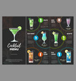 flat cocktail menu design vector image