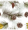Pine branches colored seamless pattern vector image